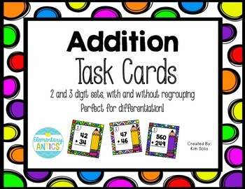Addition Problem Task Cards {2 and 3 Digits}