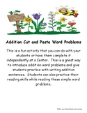 Addition Problems Cut and Paste Activity