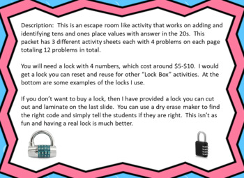 Addition Problems and Identifying Tens & Ones Place Value-Lock Box Escape Room