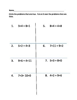 Addition Problems on Both Sides of the Equal Sign
