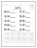 December Addition Problems with Manipulatives (sums to 10)