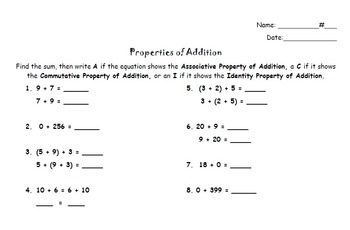 Addition Properties Activity and Quiz - Distributive, Commutative, Associative
