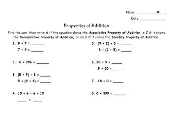 Addition Properties Activity and Quiz - Distributive, Commutative, Associative