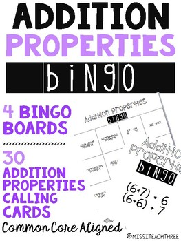 Addition Properties Bingo