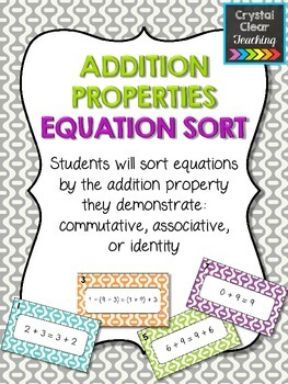 Addition Properties Equation Sort