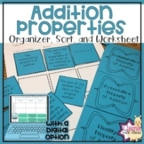 Addition Properties Organizer, Sort, and Worksheet