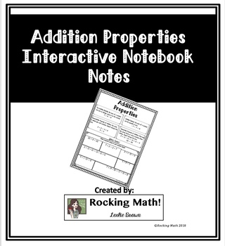 Addition Properties Interactive Notebook Notes