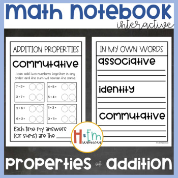 Addition Properties Interactive Notebook Pack