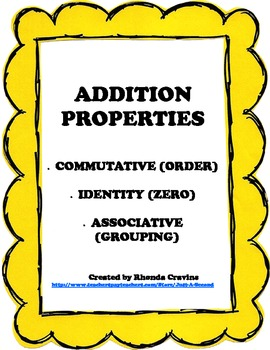 Addition Properties- Intro Pack