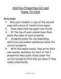 Addition Properties Math Activity