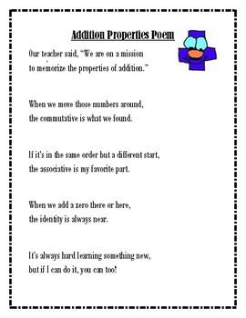Addition Properties Poem
