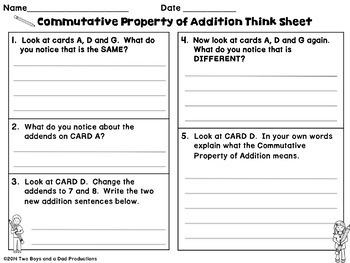 Properties of Addition Think Write Practice with Critical Thinking Skills