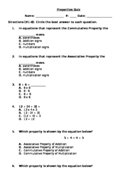 Addition Properties Quiz