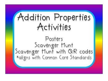 Addition Properties Set - posters, scavenger hunt, QR codes