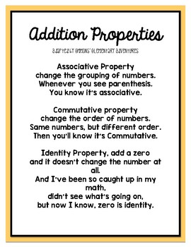 Addition Properties Song