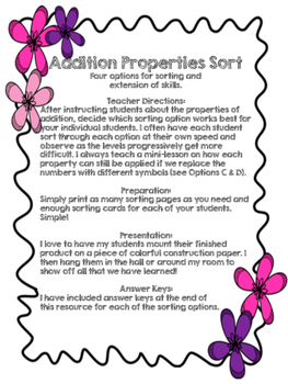 Addition Properties Sorting Cards (4 Different Card Types!)