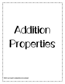 Addition Properties Student Activities