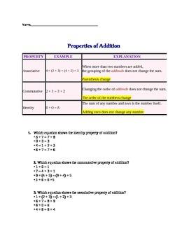 Addition Properties Worksheet