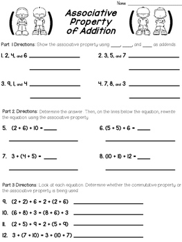 Addition Properties Worksheets