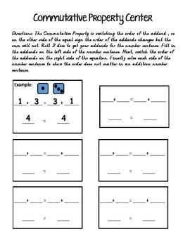 Addition Property Math Centers