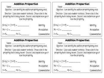 Addition Property Printable Games