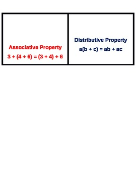Addition Property Response/Pinch Cards for Younger Students