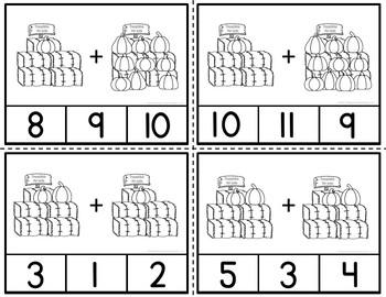 Addition 1-20 Pumpkin Clip Cards Harvesting Through Addition