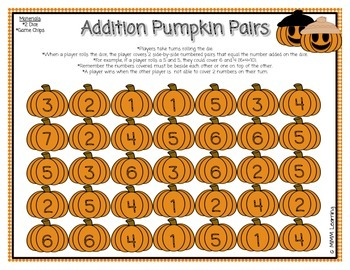 Addition Pumpkin Pairs - Game