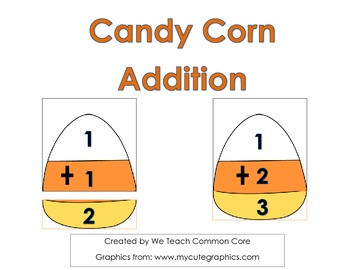 Addition Puzzle Candy Corn for Math Center or Small Group