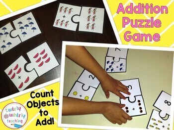 Addition Puzzle Matching Game to 5+5