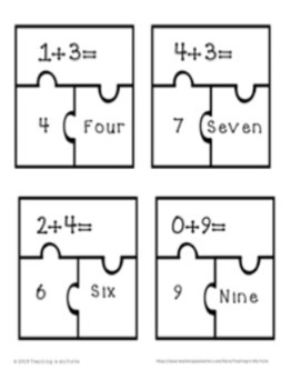 Addition Puzzle Numbers 1-10