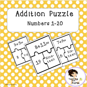 Addition Puzzle Numbers 1-20