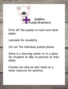 Addition Puzzle for Addend 7