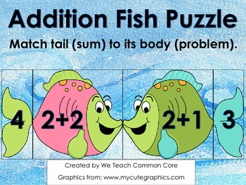 Addition Puzzle with Fish Math Center Activity or Small Group Practice