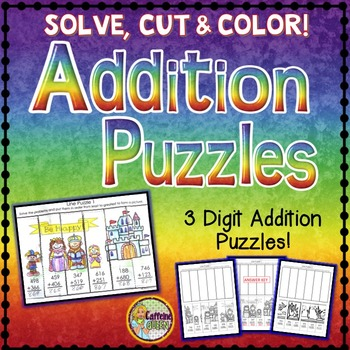 Addition Cut and Paste Puzzles - No Prep