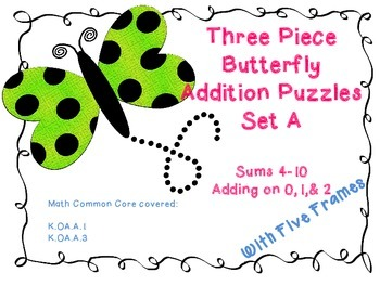 Addition Puzzles-- Butterfly Theme