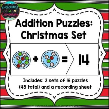 Addition Puzzles: Christmas Set