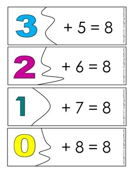 Addition Puzzles Combinations of Numbers to 10