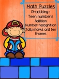 Addition Puzzles- Teen numbers with tallys and ten frames