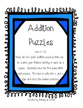 Addition Puzzles sums of 1-20