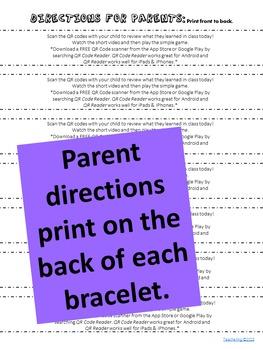 Addition Bracelets Homework {Bracelets with QR Codes}