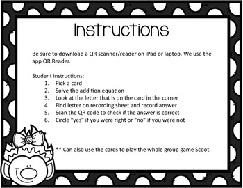 Addition QR Code Task Cards {Set 2 - Sums 10-20}