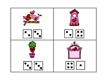 Addition Read the Room Valentine Theme- Addition to 8 with Dice Faces