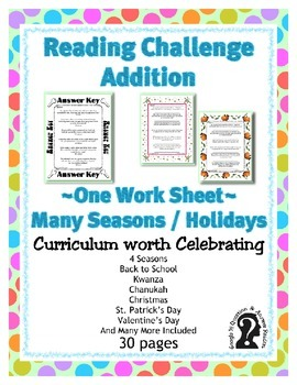 Addition Reading Challenge Work Sheet 2 ~ One Work Sheet ~