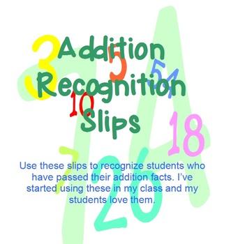 Addition Recognition Slip