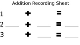 Addition Recording Sheet