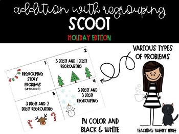 Addition Regrouping Scoot Holiday Edition