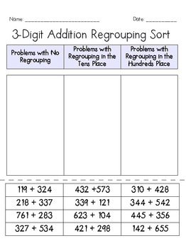 Addition Regrouping Sort Pack