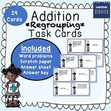 Addition *Regrouping* Task Cards (Answer sheet, KEY and Sc