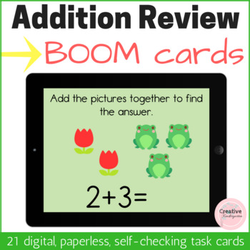 Addition Review Digital Task Cards with BOOM Cards for Kindergarten